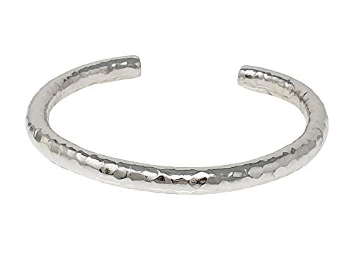 TreasureBay Women's, Men's Hollow Hammered Torque Cuff Bangle for men and women 925 Sterling Silver