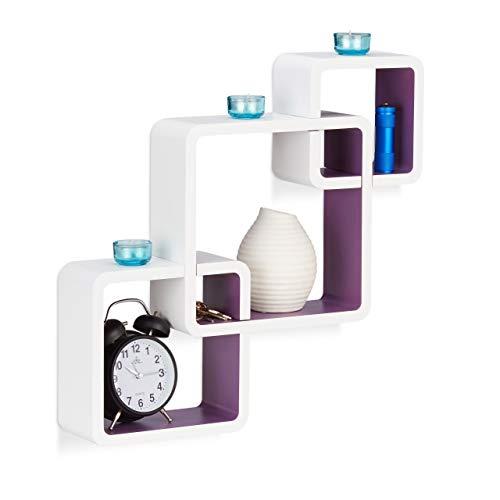 Relaxdays 10021803_749 Étagère cube carré tablette flottante murale 3 cubes en MDF compartiment coloré, blanc-violet,10 x 46 x 48 cm
