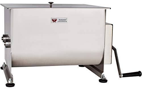 Beeketal 'FMD40' Gastro Marinator Vermenger aus Edelstahl mit ca. 40 Liter Volumen, 2 Butterfly-Mischpaddeln, Sichtschlitz und stabiler Handkurbel für leichtere Handhabung
