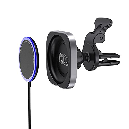 OXX Magnetic Wireless Charger iPhone 12 Compatible with Mag-Safe,Max 15W qi Magnetic Wireless Car Charger with Air Vent Mount Clamp Compatible with iPhone 12/12Mini/12Pro/12Pro Max (Black)