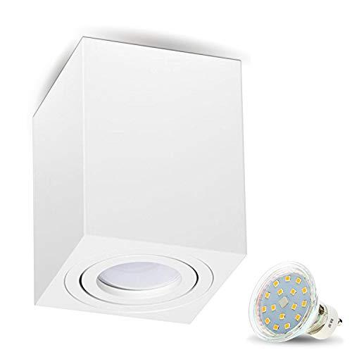 Lampada da incasso MILANO -LANG - 4 W LED bianco caldo GU10 230 V [quadrato, bianco, orientabile], plafoniera a cubo, lampadario in alluminio