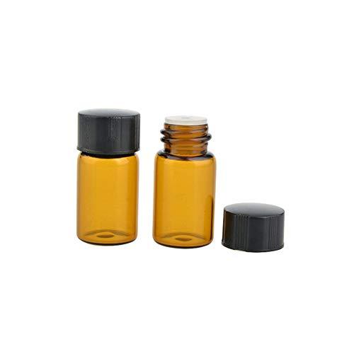 JIHUOO 25 Pcs Ambre Flacons échantillon en Verre Bouteille Huile Essentielle avec Orifice Réducteur 3 ML