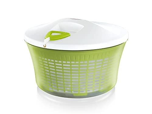 Leifheit Salatschleuder ComfortLine-Serie mit Rechts-/links-Drehmechanismus im Deckel, Salattrockner inklusive Salatschüssel und Sieb, trocknet den Salat effektiv und schonend