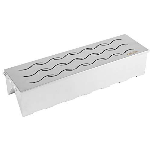 Onlyfire FPA-5114 Räucherbox, VV-Form Edelstahl Smoker für Gasgrill-Holzhackschnitzel, Räuchern im Grill Leicht zu öffnen mit Klappdeckel