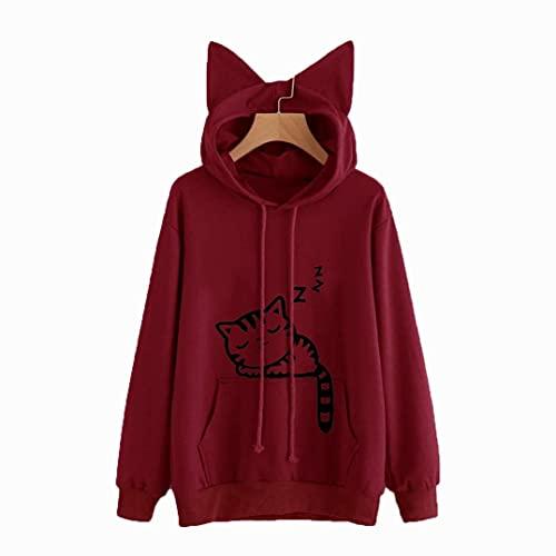 Jumper de las mujeres de manga larga mujer con capucha sudadera kawaii invierno gato patrón manga larga con capucha sudaderas con capucha oído huido (Color : Red, Size : XXL)