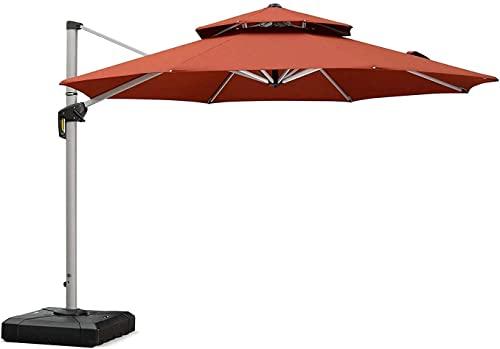 PURPLE LEAF Sombrilla redonda de 330 cm, para balcón, terraza, diseño de doble techo, rotación de 360°, 8 piezas, 6 niveles ajustables, protección UV 50+, color burdeos