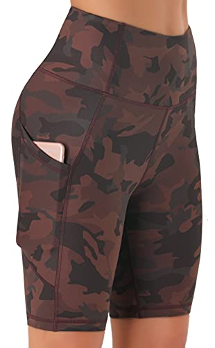 Persit Leggings cortos opacos para mujer, con bolsillos Marrón camuflaje. XL