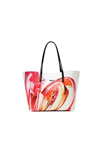 Desigual PU Shopping Bag, Borsa shoppering Donna, Bianco, U