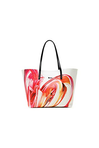 Desigual PU Shopping Bag, Borsa shoppering Donna, Bianco, U