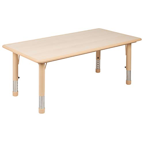 Flash Furniture 23.625W x 47.25L Rectangular Natural Plastic Height Adjustable Activity Table