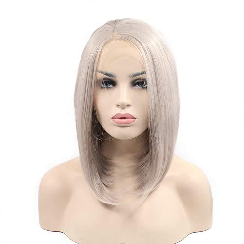 Perruque de cheveux naturels blond cendré avec dentelle synthétique pour femme, couleur fraîche pour cosplay 35,6 cm