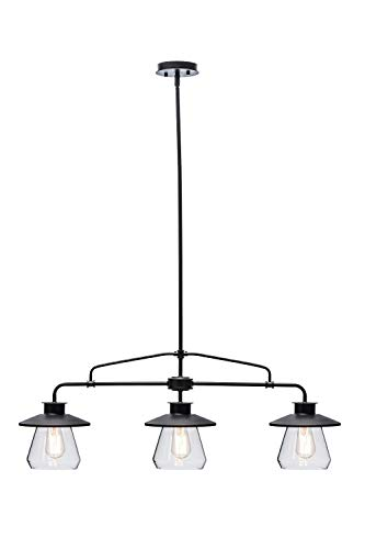 Globe Electric 64845 Nate 3-Light Pendant, Bronze, Oil Rubbed Finish, Clear Glass Shades (Renewed)