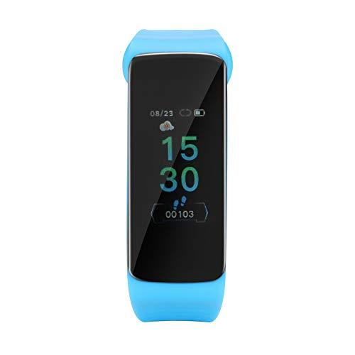 OIHODFHB Pantalla Táctil Azul Deportes Pulsera Inteligente De Silicona Banda De Muñeca Reloj Monitor De Frecuencia Cardíaca TLWB4