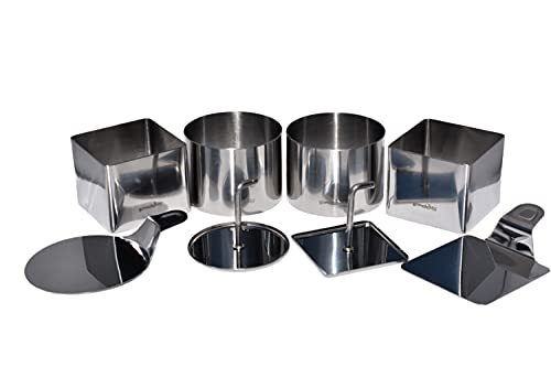 3 Inch Ring Molds For Cooking, Plating Dish Ring Set For Prepping, Plating, Forming - Professional Stainless Steel, 8 Piece Set