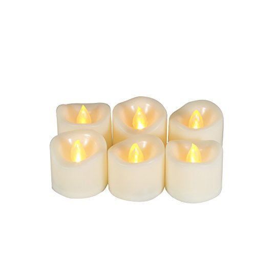 6 Battery Operated Flameless LED Tealight Votive Candles with Timer Realistic Flickering Electric Tea Lights Set Bulk Baptism Wedding Party Decorations Kitchen Home Decor Centerpieces Batteries Incl.