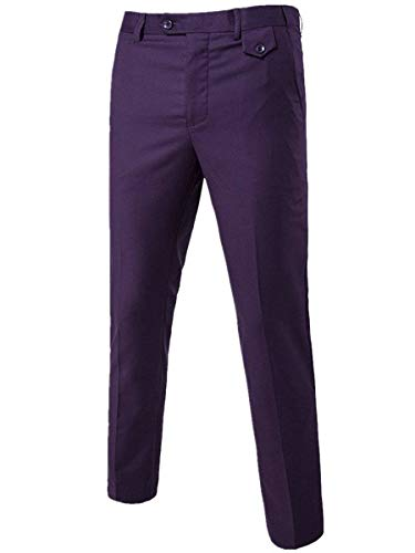 Cloudstyle Men's Pants Relaxed Flat Front Straight-Fit Suit Dress Pant Purple