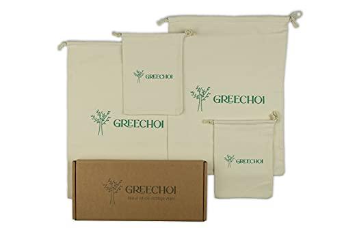 GREECHOI Juego de 4 bolsas de pan, bolsa de almacenamiento para pan con cordón
