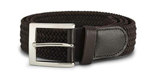 """STREEZE Elastic Stretch Belt 1.5 Inches Wide Silver Buckle Ideal for Jeans (Medium 33"""" - 36"""", Brown)"""