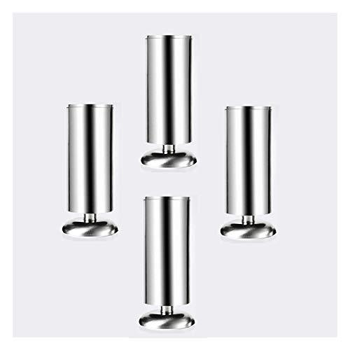 HLMBQ Patas de acero inoxidable para muebles de cocina, patas ajustables redondas, 5 cm de diámetro, 4 patas de sofá, para mesita de noche, mesa de café de 1,4/4/6/8 pulgadas