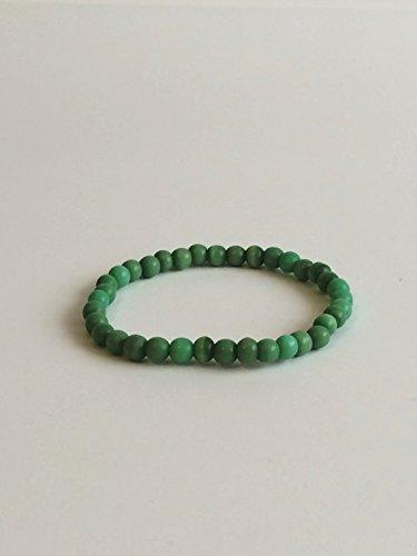 LOVEKUSH Venta al por mayor 6 mm pulsera de jade verde elástica, redonda, lisa 7 pulgadas para hombres, mujeres, gf, bf y adultos.