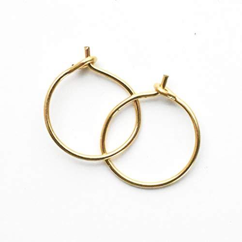 Small Solid 14k Yellow Gold Hoops. Mini Earrings Choose 8mm 10mm or 12mm in 24 Gauge or 22 Gauge 1 pair Minimalist Hypoallergenic Huggie Sleeper Hoop Earrings