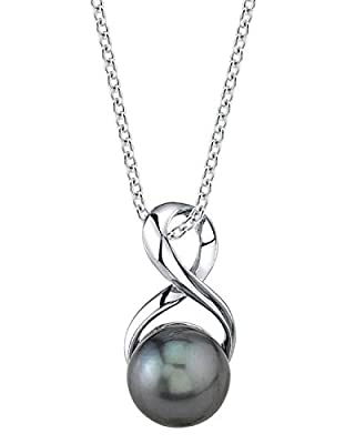 Cultured Pearl Pendant Necklace for Women in Sterling Silver, Infinity Design with Black Tahitian South Sea Pearl - THE PEARL SOURCE