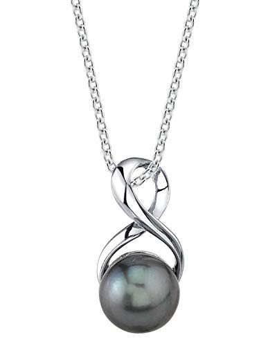 THE PEARL SOURCE 9-10mm Genuine Black Tahitian South Sea Cultured Pearl Infinity Pendant Necklace for Women
