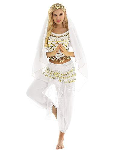 MSemis Traje Disfraz Danza del Vientre para Mujer Disfraz Princesa Árabe Traje Baile Oriental Accesorios Disfraz Bailarina Oriental Coaplay Fiesta Carnaval Blanco Talla Única