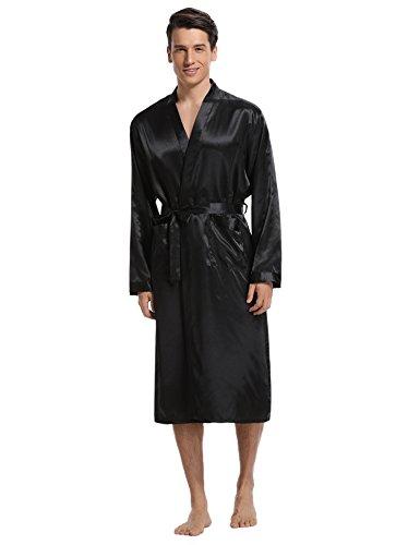 Aibrou Bata Hombre Casa Largo,Kimonos Satén Lujoso Lencería Encaje,Suave,Comodo y Agradable