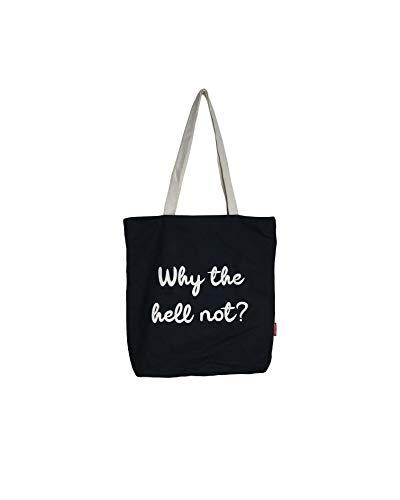 Hello-Bags Bolso Tote Algodón 100% Negro con Cremallera, Forro y Bolsillo Interior 37 * 38 cm + (asa: 28 cm) Incluye sobre Kraft de Regalo