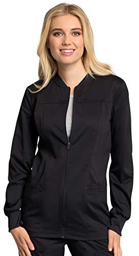Cherokee Workwear Revolution Tech Zip Front Warm-Up Scrub Jacket, L, Black