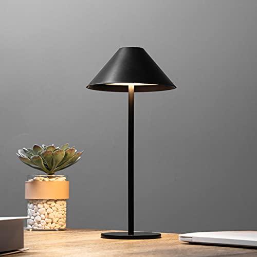 Bojim IP54 Lámpara de Mesa Táctil LED, Regulable Lampada da Tavolo Inalámbrica Portátil 3000K, 3W 240LM Lampada da Scrivania de Aluminio Negro Ideal para usar Interior y Exterior, Recargable USB