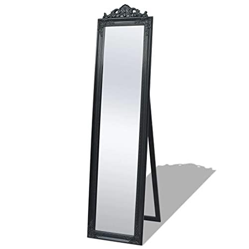 vidaXL Miroir sur Pied pour Chambre Salle de Bain Style Baroque 160 x 40 cm Noir