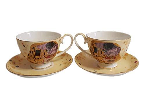 Atelier Harmony Gustav Klimt Crema Der Beso - Juego de tazas de té y café (4 piezas, porcelana, con caja de regalo)
