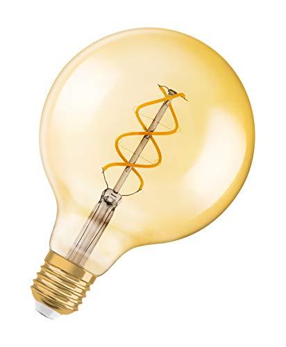 OSRAM Vintage Edition 1906 Ampoule LED à Filament Spirale   Culot E27   Forme Globe 125mm Or Ambrée   Dimmable   Blanc Chaud 2000K   4,5W (équivalent 25W)