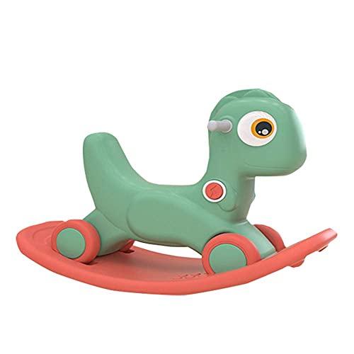 Caballo mecedora del bebé, paseo de doble propósito en empuje con caja de sonido/protección ambiental Carrito deslizante para niños para niños pequeños, naranja WDH666 (Color : Green)