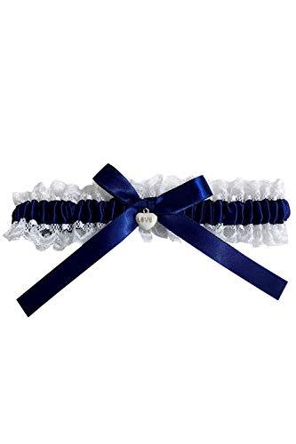 Strumpfband Hochzeit für die Braut- Elegantes Wedding Garters Accessoires Band verziert mit Schleife, Spitze und einem edlen Herz aus filigranen Strass-Steinen- One Size- Weiß/Blau.