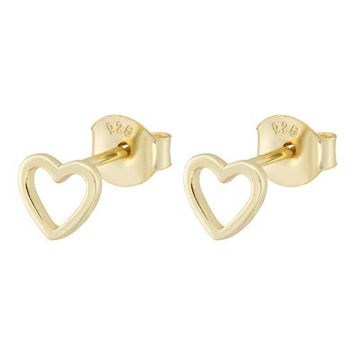 Brandlinger ® Atelier Ohrstecker Herz aus vergoldetem 925 Sterling Silber für Frauen, Mädchen und Kinder. Durchmesser der Gold Ohrringe 5,3 mm