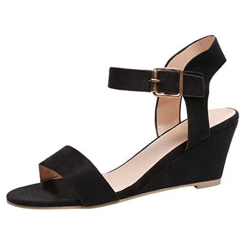 Sandalias de Mujer Plataforma,JiaMeng Moda Polaco Dull Costura Peep Toe Cuñas Hasp Sandalias Zapatos Flatform Sandalias Mujer Cuña Alpargatas Plataforma (Negro#3, 35)