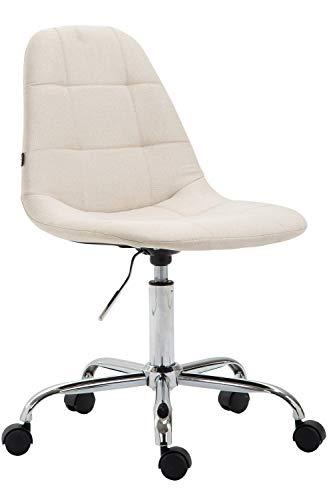 CLP Bürostuhl Reims Mit Stoffbezug I Schreibtischstuhl Mit Gestepptem Sitz I Höhenverstellbarer Arbeitsstuhl Mit Metallgestell, Farbe:Creme