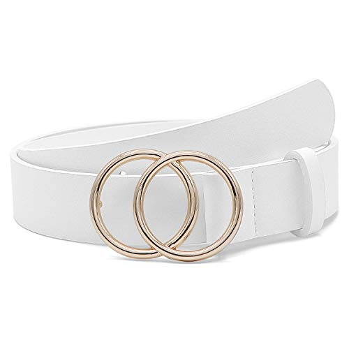 Women Leather Belt Fashion Double O-Ring Soft Faux Leather Waist Belts For Jeans Dress