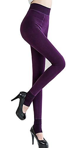 MISLD Frauen-Winter Warm Knit Leggings Fleece-Linie Ganzkörper Stretchy Tights Thermal Insulated-Hosen-Hose (Color : Purple)