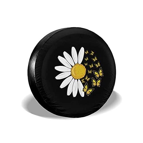 Lewiuzr Girasol Margarita Mariposa Cubierta de neumático de Repuesto Poliéster Protector Solar Cubiertas de Rueda Impermeables Ajuste Universal