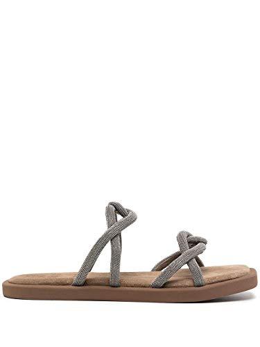 Moda De Lujo | Brunello Cucinelli Mujer MZMIG1987CO825 Marrón Cuero Sandalias | Ss21