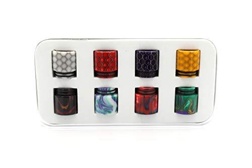8 x EzVapor 810 Drip-Tip-Box 8 x Wide-Bore Mundstück aus Harz Resin 4 x Bienenwaben 4 x Farbverlauf Drip-Tip-Set