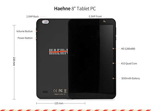 Haehne 8 Pouces Tablette Tactile - Google Android 9.0 GMS 1280x800 HD Tablet PC, Quad Core 1Go RAM 16Go ROM, Double Caméras, WiFi, Bluetooth, Noir