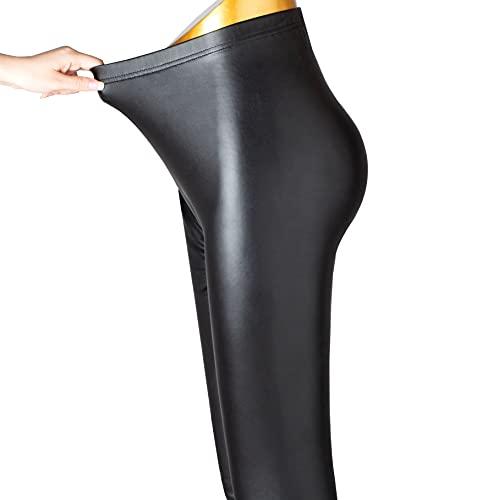 SOGNO D'ORO Leggins Pelle Donna Taglie Forti Vita Alta Termici Ecopelle Leggings Invernali Donna Sportivi Elastico Skinny Pantaloni