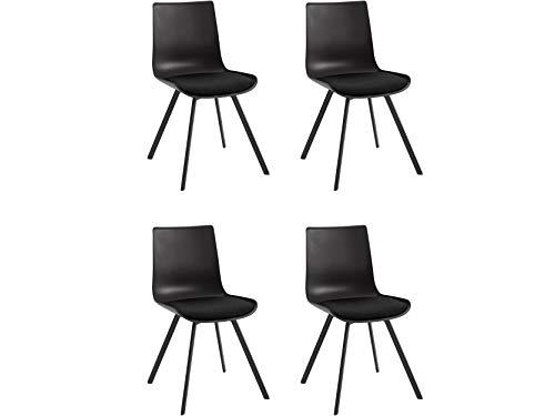Loft24 A/S 2er-Set Stuhl Esszimmerstuhl Stuhl Stühle Sitzschale Kunststoff Metallgestell (schwarz, 4er-Set)