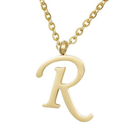 Morella Collar de Oro y Acero Inoxidable con Colgante Letra R