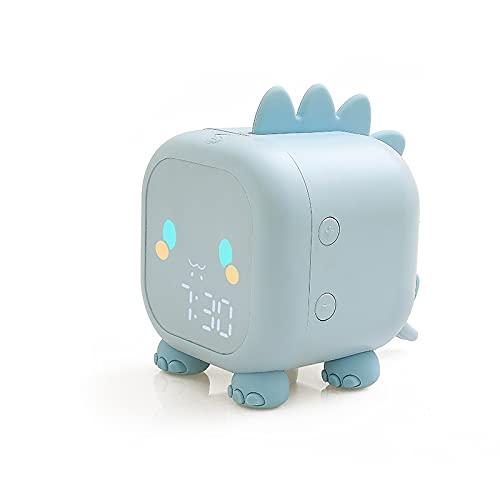 PPuujia Despertador de dinosaurios para dormitorio infantil con sistema de temperatura, control de dibujos animados LED, tiempo de voz digital, pantalla de decoración de escritorio pesado (color azul)
